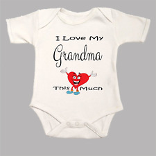 I Love My Grandma This Much Cute Funny Heart  Baby Grow BodySuit Body Body Suit