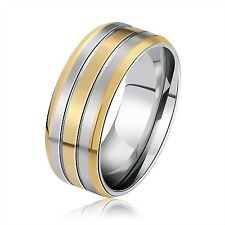 1PC 316L Stainless Steel Finger Ring Gold Stripe Gear Ring Male Man Size 7-13