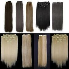 "8 Pcs 15"" Straight Full Head Clip In On Synthetic Hair Weft Extensions 9 Colors"