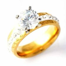 Clear clear crystal Gold plated Wedding Promise Love Band Ring Size 7,8,9,10