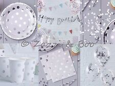 SILVER POLKA DOT Party Wedding Decorations Tableware Birthday Bunting Napkins