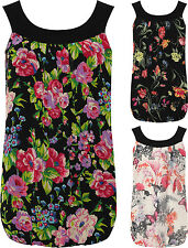 Plus Womens Chiffon Pleated Vest Top Ladies Floral Sleeveless Bubble Hem New