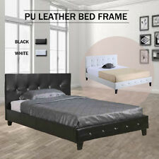 PU LEATHER BED FRAME DOUBLE QUEEN KING SIZE  Bedding Mattress Option