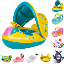 Safe Toddler Baby Kids Swimming Pool Inflatable Swim Float Seat with Canopy Buoy