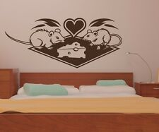 Wall Decal Love Mouse Mice Cheese Wedding Heart Animal Marriage Sticker 1B353
