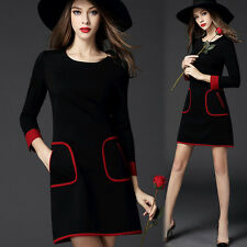 Plus Size New Women Ladies Simple Cotton Dress Long Sleeve Dress Casual Summer