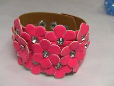 Pretty Colorful Leather with daisy cut outs bracelet w/ snap adjustable closure
