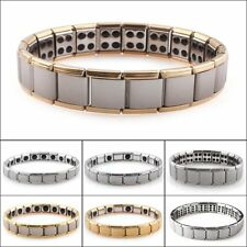 Mens Germanium Bracelet Polished Stainless Steel Magnetic Therapy Pain Relief