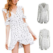 Women Irregular Cold shoulder polkadot Summer Vintage Chic chiffon Dress Print