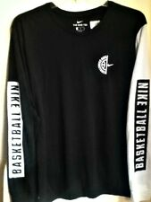 AUTHENTIC NIKE DRI-FIT NIKE BASKETBALL L/S BLACK/WHITE T SHIRT 898397-010