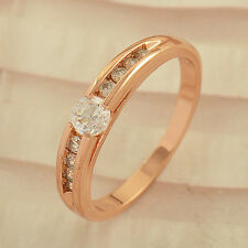 Korean Fashion  Rose Gold plated clear crystal Wedding promise Ring,Size 7 8 9