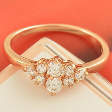 Sparkling 9K Rose Gold plated Clear clear crystal Ladies Ring size 6 7