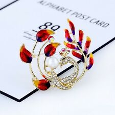 Fashion Pearl Peacock Brooches Cloisonne Colorful Alloy Metal Women classic