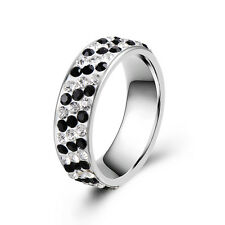 Mens Rings Womens Black Clear CZ Stainless Steel Gift Size6/7/8/9/10