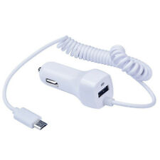 White Vehicle Ultra Rapid Charge Micro USB Car Charger Adapter with Coiled Cable