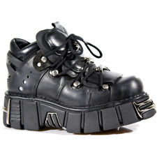 NEW ROCK 106 S1 Black Leather Goth Metallic Laced Up Style Unisex Tower Shoes