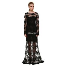 BF9 Women Sexy Long Sleeve Backless Lace Cocktail Evening Party Long Maxi Dress