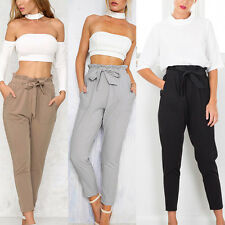 Womens Casual Chffion Harem Pants Elastic High Waist Cropped Length OL Trousers