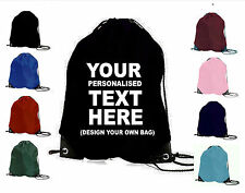 PERSONALISED GYM BAG YOUR TEXT DRAWSTRING GAMES SPORTS PE SWIM SCHOOL NAME GIFT
