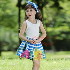 Girls Summer Outfit Kids Tank Top T-shirt and Striped Pleated Flower Skirt Set