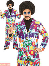 Mens 1960s 1970s Groovy Hippie Costume Adults Hippy Suit Fancy Dress Outfit