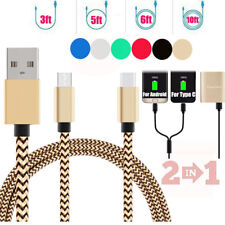 2 in 1 Micro USB&Type-C Fast Charge Data Cable For Samsung A3 A5 A7 2017 S8/Plus