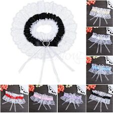 Bridal Wedding Crystal Heart Satin Lace Floral Ruffle Elastic Party Toss Garter