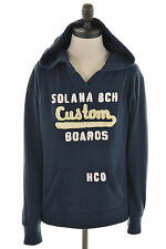 HOLLISTER Womens Hoodie Jumper Size 14 Large Navy Blue Cotton