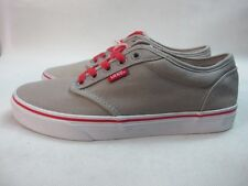 Mens Vans Atwood Varsity Low Canvas Shoes Grey Red Lace Up Trainers