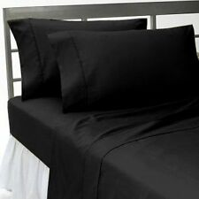 UK Single-Size 1200 TC 100%Egyptian Cotton All Bedding Item Black Solid