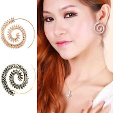 2PCS Women Round Spiral Earring Eardrop Jewelry Swirl Gear Ear Stud Dangle Party