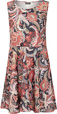 Womens Plus Floral Paisley Print Sleeveless Flared Swing Ladies Skater Dress