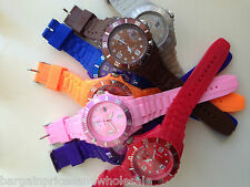 MENS WOMENS UNISEX SILICONE JELLY BEAN STYLE WITH DATE WRIST WATCH ALL COLOURS