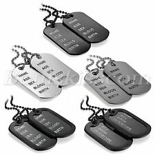 """Mens Fashion Army Style 2 Dog Tags Address Engraved Pendant Necklace Chain 27.6"""""""
