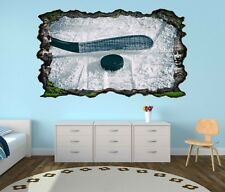 3D Mural tattoo Ice hockey Slice Puck Sports Game Ice Wall Sticker 11H023