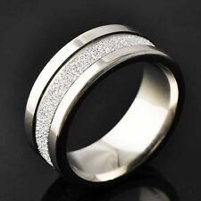 Authentic Trendy stainless steel Scrub Mens Band Ring Size 8-11  Free Shipping