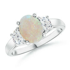 Three Stone Oval Opal and Half Moon Diamond Ring 14k White Gold Size 3-13