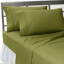 1200 TC Egyptian Cotton All Bedding Items UK-Small Double Size Moss Solid