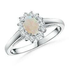Princess Diana Inspired Opal Ring with Diamond Halo 14k White Gold Size 3-13