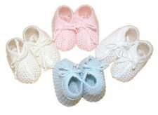 BABY KNITTED BOOTEES 0-6 MONTHS PINK, BLUE, WHITE OR CREAM