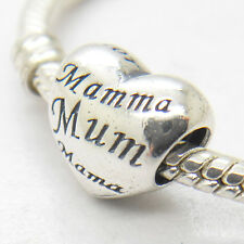 Genuine S925 Sterling Silver Mother / Mom / Mum Heart Charm Mother's day gift