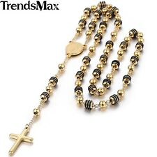 Trendsmax Stainless Steel Bead Chain Jesus Christ Cross Pendant Rosary Necklace