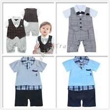 Baby Boys Kid Gentleman Suits Plaid Jumpsuit Romper Bodysuit Clothes 6-24 Months