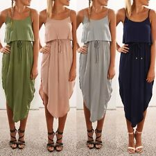 Sexy Sleeveless Strap Irregular Dress Women Fashion Chiffon Long Beach Sundress