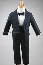 NEW BOY (Sz S/M/L/XL/2T/3T/4T) FORMAL 5 pcs Tail TUXEDO SET BLACK w/Cummerbund
