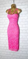 ~VICTORIA~ Fuschia Pink Floral Lace Midi Bodycon Evening Party Dress 8 10 12 14