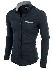 Mens slim fit shirt button-down long sleeve casual shirt charcoal (VGD063LS)
