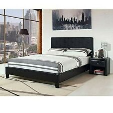 Leather Bed Frame Queen Full Cal King Size Platform Black Faux Headboard W Slats
