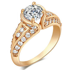 Gorgeous Womens Gold Filled Wedding Engagement Promise Crystal Ring Size 5 8 9