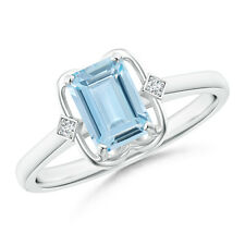 Emerald Cut Natural Aquamarine with Round Diamond Ring 14K White Gold Size 3-13